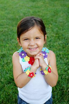 Girls Felt Flower Tank and Matching Bracelet/Anklet - Hawaiian Flower - Hula Girl