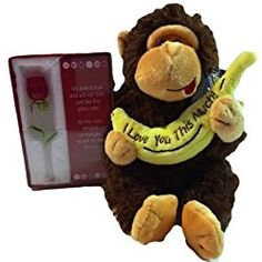 "Valentines Day Gorilla Monkey (Brown) I Love You This Much Banana with Glass 5"" Rose Gift Bagged Set Bundle"