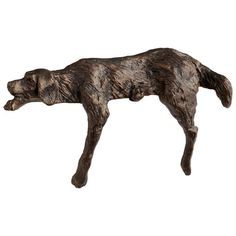 """This lazy dog is the epitome of relaxation in iron with bronze finish.Dimensions: 4.5""""h x 8""""d x 3""""w"""
