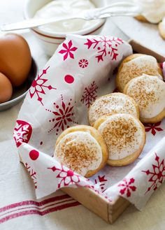 Butter Cookies with Eggnog Cream Cheese Icing.