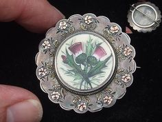 VICTORIAN SILVER 9CT GOLD ENAMEL SCOTTISH THISTLE MOURNING LOCKET BROOCH