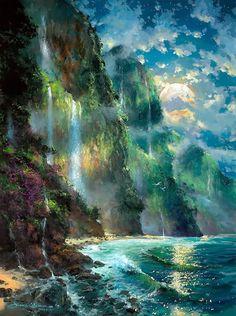 Fantasy landscape sea nature 18 Ideas for 2019 Fantasy Art Landscapes, Fantasy Artwork, Beautiful Landscapes, Fantasy Concept Art, Scenery Wallpaper, Nature Wallpaper, Abstract Landscape, Landscape Paintings, Acrylic Paintings