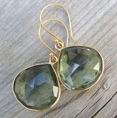 Prasolite Earrings Framed Vermeil Gemstone by LeanneDesigns, $36.50