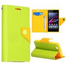 Funda Sony Xperia Z1 Compact Amarilla Book Cartera Verde  $ 132,00