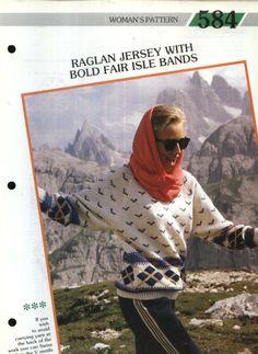 584 Creative Knitting Woman's Pattern 584 : Raglan Aran Jersey with Bold Fairisle Bands Pamphlet – 1986 Carry Back, Creative Knitting, Bands, Pattern, Travel, Women, Viajes, Patterns, Band