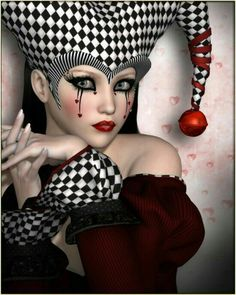 River by vyktohria Poser Portraits Circus Makeup, Clown Makeup, Costume Makeup, Halloween Makeup, Halloween Costumes, Jester Makeup, Girl 3d, Pierrot Clown, Art Visage