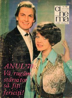 """Romanian actors Margareta Pâslaru and Florin Piersic. Front cover of """"Cinema"""" magazine (December Socialist State, Socialism, Warsaw Pact, Central And Eastern Europe, Bucharest Romania, Soviet Union, Film Movie, All Art, Fashion Beauty"""