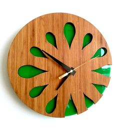 Bamboo Wall Clock  Green Kiwi Fruit by MabelDesignsAU on Etsy, $59.00