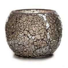 Champagne Mosaic Glass Roly Poly Votive Candle Holder