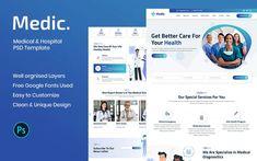 Medic - Medical & Hospital PSD Template Chiropractic Clinic, Web Design Software, Grid System, Wordpress Template, Optician, Business Flyer, Psd Templates, Pediatrics, Creative Business