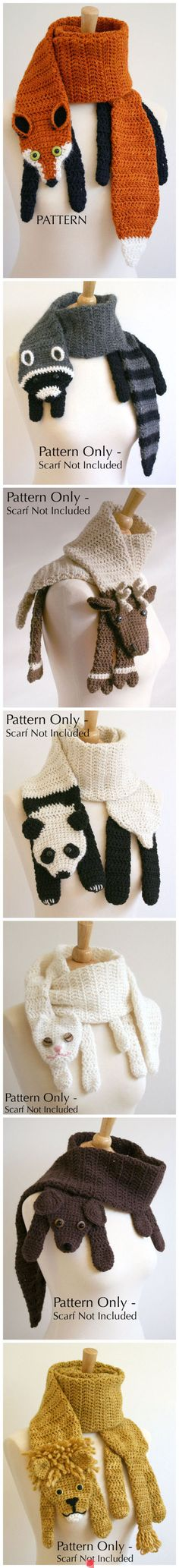 Fox Scarf Crochet Pattern by Bees Knees Knitting. pattern for fox only $6.00; booklet with all 11 animal scarf patterns $45.00. On Ravelry at http://www.ravelry.com/patterns/library/fox-scarf-crochet-pattern