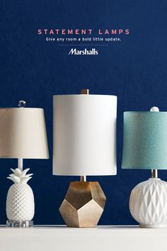 Bring some personality to the table with accent lamps that make a statement. Look for new textures, metallic touches and geometric inspiration. Plus fun surprises like this white pineapple lamp! Bring home a matching pair or mix and match within any room. Visit Marshalls today for new lighting styles that inspire.
