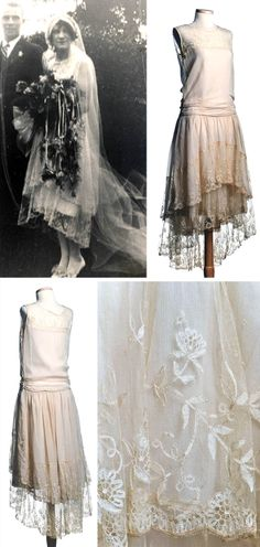 Wedding dress, Hattie Pickett Milam, Sandy Springs, SC, 1928. Made for her daughter (seen top left). Cream silk chiffon with lace yoke and lace ruffles around skirt & overskirt. Hemline dips in back. Low waistline has shirring on bodice and gathers on skirt. Side opening on left with snap closure. Charleston Museum