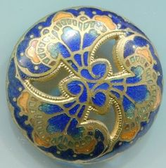 Champleve enamel sewing button. Openwork. Blues
