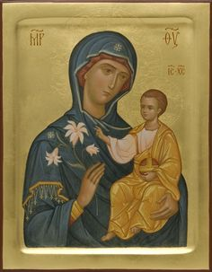 This icon of the Mother of God the Unfading Bloom is handpainted on a gessoed wooden board using egg tempera paints. A real masterpiece from the icon painting studio of St Elisabeth Convent Religious Icons, Religious Art, Christian Artwork, Russian Icons, Byzantine Icons, Painting Studio, Madonna And Child, Funny Tattoos, Christian Art