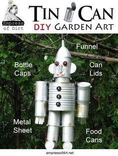 How to make tin can garden art. This is a fun, recycled project to do with kids. You can make a dog too!