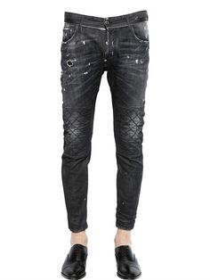 DSQUARED2 - 17CM TIDY BIKER ZIP STRETCH DENIM JEANS - LUISAVIAROMA - LUXURY SHOPPING WORLDWIDE SHIPPING - FLORENCE Denim Ideas, Denim Trends, Biker Pants, Jeans Pants, Casual Jeans, Jeans Style, Japanese Denim, Denim Outfit, Vintage Denim