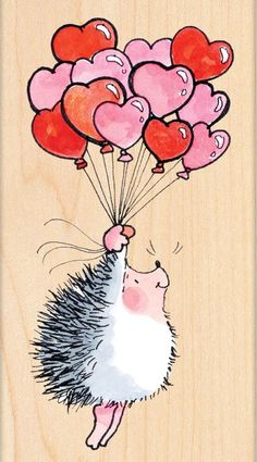 Penny Black Flight L.E - Rubber Stamp. The hedgehog in this wood stamp is floating through the air under heart shaped balloons. Hedgehog Art, Cute Hedgehog, Happy Paintings, Heart Balloons, Illustration, Watercolor Cards, Whimsical Art, Stone Painting, Rock Art