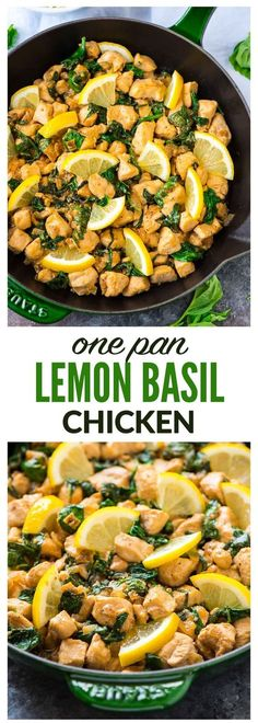 One Pan Lemon Basil Chicken with Spinach – Ready in 20 minutes! Fresh, flavorful, and healthy. Serve with rice for an easy weeknight meal. Recipe at wellplated.com | @wellplated