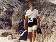 Model Julian Schneyder takes to the beach in a colorful outfit from Louis Vuitton's 2017 America's Cup collection.