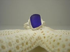 Cobalt blue sea glass and sterling silver ring by Shannon M. Russell at Shannon Down By The Sea