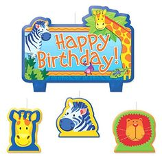 Party Time Jungle Animals Molded Mini Character Birthday Candle Set Pack of 4 Blue  25 x 29 Wax *** Read more reviews of the product by visiting the link on the image.  This link participates in Amazon Service LLC Associates Program, a program designed to let participant earn advertising fees by advertising and linking to Amazon.com.