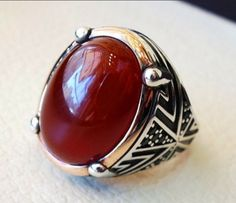 Stainless Steel Vogue Design Mini Stone Ring for Sale in New City, NY - OfferUp Agate, Turkish Fashion, Turkish Style, Mens Ring Sizes, Natural Red, Carnelian, Vintage Rings, Sterling Silver Rings, Jewelry Accessories