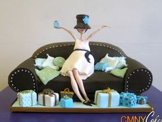 Pregnant Lady on a Couch Baby Shower Cake