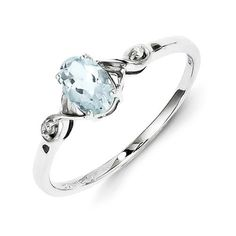 Sterling Silver Rhodium Plated Diamond And Aquamarine Oval Ring – Sparkle & Jade