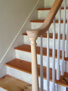 My House: Staircase Before & After — CAROL REED INTERIOR DESIGN Wooden Staircase Railing, Black Staircase, Staircase Runner, House Staircase, Wooden Stairs, How To Make Stairs, Tall Pantry Cabinet, Old Closet Doors, Staircase Makeover