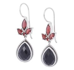 Himalayan Gems Sterling Silver Multi Gemstone Dew Drop Earrings