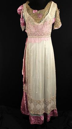 TITANTIC EDWARDIAN GOWN BEADED SILK SATIN GOLD LAME from Firefly Vintage