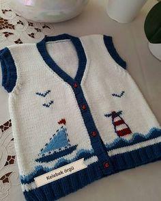 Deniz fenerli, yelkenli, yeleğimiz küçük beyler için..⛵⛵⛵⚓⚓⚓ sevgiler...#örgü #elişi #nakoileörüyoru - kelebek_orgu Baby Knitting Patterns, Baby Boy Knitting, Baby Patterns, Knitted Baby Cardigan, Baby Pullover, Knit Vest, Baby Boy Vest, Baby Coat, Crochet For Kids
