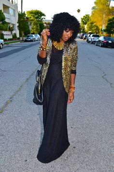Gold Sequin Blazer + Black Maxi Dresses