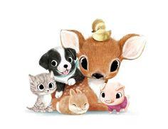 Cute/Sweet Animals Cat, Dog, Rabbit, Deer, Pig, Chick. [Drawing]