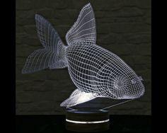 Goldfish Shape, 3D LED Lamp, Home Decor, Goldfish Art, Office Decor, Plexiglass Lamp, Decorative Lamp, Nursery Light, Acrylic Night Light by ArtisticLamps