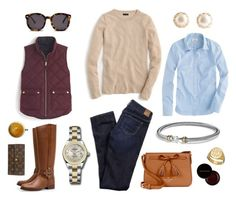"""""""Fall Wardrobe Staples"""" by pinkngreennblack ❤ liked on Polyvore featuring American Eagle Outfitters, Tory Burch, Karen Walker, Rolex, J.Crew, Kate Spade, Sarah Chloe, Kevyn Aucoin, Louis Vuitton and David Yurman"""
