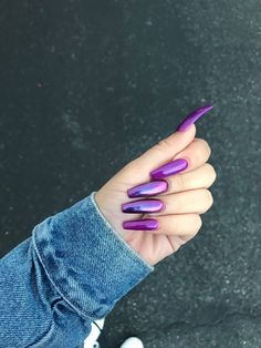 ✨💜✨VirginPearlsInc✨💜✨ Ideas you might love ✨💜✨ White acrylic nails = Nail art = Bling nails =<br> Gorgeous Nails, Love Nails, Fun Nails, Pretty Nails, Acrylic Nail Designs, Nail Art Designs, Acrylic Art, Purple Acrylic Nails, Purple Chrome Nails