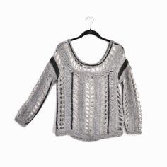 SKAIST TAYLOR Gray Black Open Knit Sweater Long Sleeve - EUC - Small #SkaistTaylor #BoatNeck