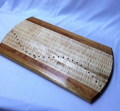 Large cutting board with dotted curved inlay by HartmanWoodworks on Etsy