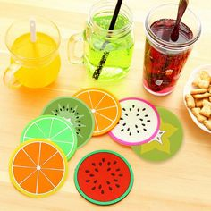 Colorful Cute Silicone Fruits Coaster Novelty Cup Cushion Holder Home Dining Room Decor Drink Placement Mat 7 Styles
