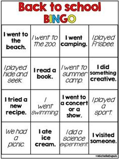Here's a fun back to school freebie for you. This bingo card is perfect to get your students moving and talking during BACK TO SCHOOL week.This simple activity is a great way to get to know your students. It will allow your kids to share information about their summer.Students walk around the classroom to find class mates that participated in the activities during the summer.