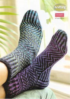 """A striking pair of zigzag socks made in Fyberspates sock yarn. The pattern came in a 2009 edition of """"Simply Knitting Favourites"""" magazine."""