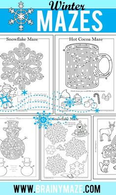 Free Winter Themed Mazes and Activity Pages for Kids. Snowma Maze, Snowflakes, Hot Chocolate, Igloo and more. Winter Crafts For Kids, Winter Fun, Winter Activities For Kids, Party Activities, Christmas Activities, Camping Activities, Christmas Games, Winter Christmas, Holiday Fun