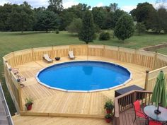 Deck Above Ground Pool Back Porch.Above Ground Pools Decks Idea Above Ground Pool Deck . Oberirdischer Pool, Above Ground Swimming Pools, Swimming Pools Backyard, In Ground Pools, Piscina Pallet, Piscina Diy, Above Ground Pool Landscaping, Backyard Pool Landscaping, Landscaping Ideas