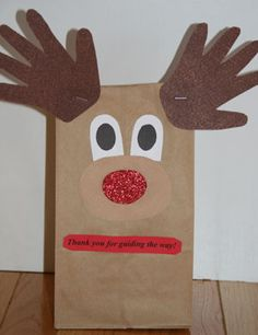 reindeer bags to make for christmas | How to make your Rudolph the Reindeer gift bag craft