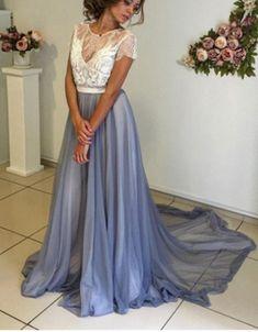 Evening Dress-Short Sleeves Round Sweep/Brush Train A-Line Evening Dress Hot Sale