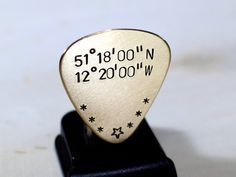 Bronze Guitar Pick with Personalized Latitude and by NiciLaskin