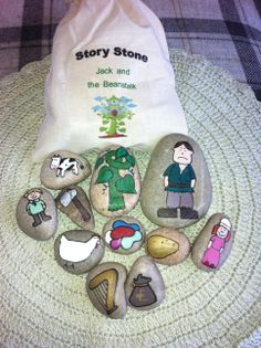 Jack and the Beanstalk stones painted with acrylic paint and varnished with outs. - Jack and the Beanstalk stones painted with acrylic paint and varnished with outside varnish for dura - Traditional Tales, Traditional Stories, Fairy Tale Theme, Fairy Tales, Eyfs Jack And The Beanstalk, Fairy Tale Activities, Preschool Activities, Story Sack, Story Stones