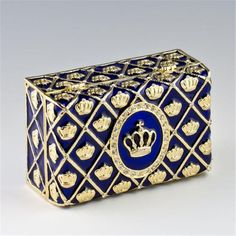 Imperial Crown Faberge Presentation Box. Pewter, Crystals, Enamel. This box has blue translucent enamel under the crystal ornamentations in the form of crosses